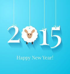 White tags with 2015 on blue background vector image