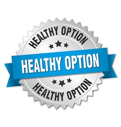 Healthy option 3d silver badge with blue ribbon vector