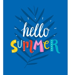 Hello summer blue card vector