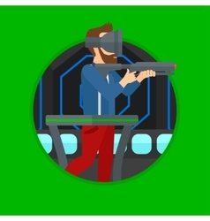 Man in virtual reality headset playing video game vector