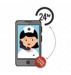 Nurse 24-hour health pharmacy isolated icon design vector