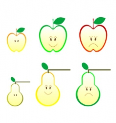apple and pear icons vector image vector image