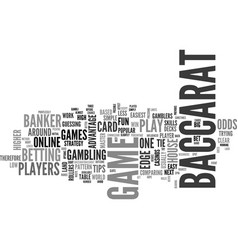 Baccarat tips text word cloud concept vector