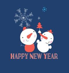Beautiful snowman with snowflakes Christmas card vector image