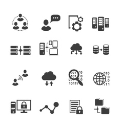 Big data icon set data analytics cloud computing vector image