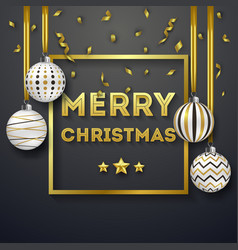 christmas background with shining gold ribbons and vector image