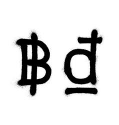 Currency icons set black spray graffiti symbol of vector