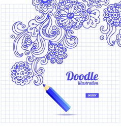 Doodle floral design vector image vector image