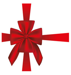 elegant silk red ribbon and bow wrapping vector image vector image