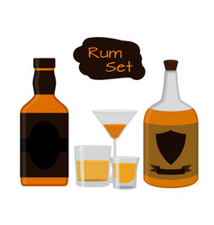 Flat rum set alcohol drink glasses shots bottles vector