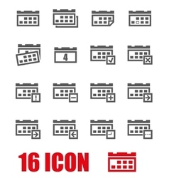 grey calendar icon set vector image vector image