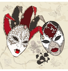 Hand drawn venetian carnival masks vector