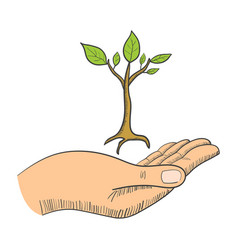 Hand with a young tree symbol vector