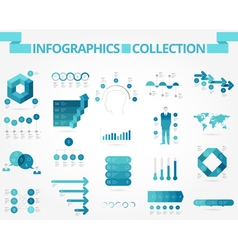 Infographics collection blue business vector