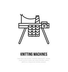 knit shop line logo yarn store flat sign vector image vector image