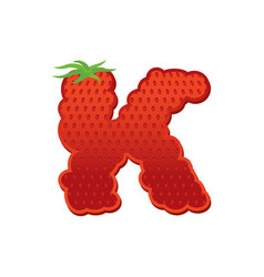 letter k strawberry font red berry lettering vector image vector image