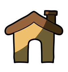 Light colored hand drawn silhouette of house icon vector