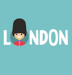 London conceptual sign smiling beefeater wearing vector