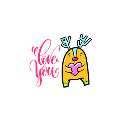 love you - positive hand lettering poster with vector image