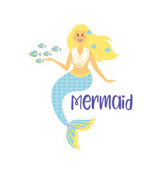 Mermaids little cute girls underwater world sea vector