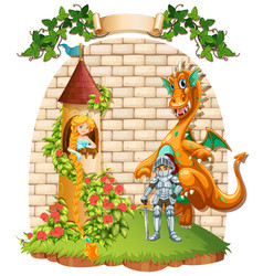 princess in tower and knight with dragon pet vector image vector image