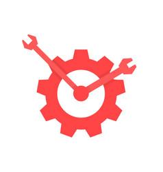 red repair service logo like clock vector image
