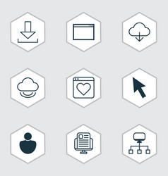Set of 9 internet icons includes program save vector