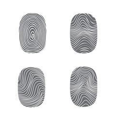 Set of fingerprint in black silhouette on white vector