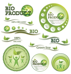 Set of green bio and organic badges vector image vector image