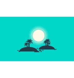 Silhouette of two islands scenery vector