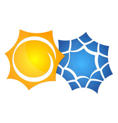 Symbol of the sun and a snowflake vector