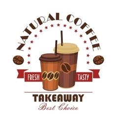 Takeaway coffee paper cups badge vector