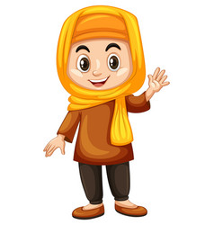 Turkish girl waving hand vector