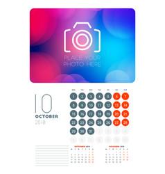 Wall calendar planner template for october 2018 vector