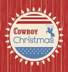 American cowboy christmas greeting card on wood vector image
