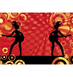 Girls playing guitars vector