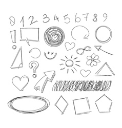 Freehand drawing scribble items vector