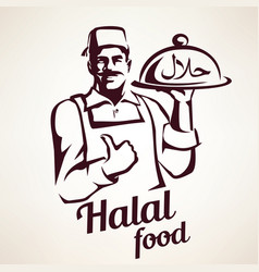 Eastern chef with plate of halal food vector