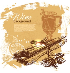 Hand drawn Mulled vintage background vector image