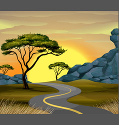 Road scene at sunset time vector