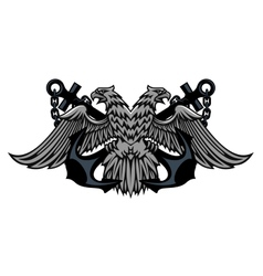 Double headed imperial eagle on anchors vector