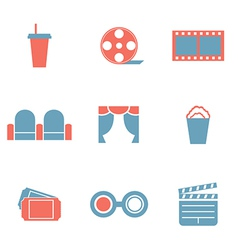 Flat design duotone cinema icons vector