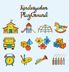 Kindergarten toys and playground set vector