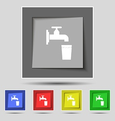 Faucet glass water icon sign on original five vector