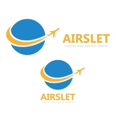 Logo globe with airplane vector
