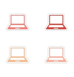 Assembly realistic sticker design on paper laptop vector
