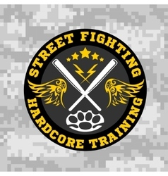 Street fighting emblem with baseball bats on vector image