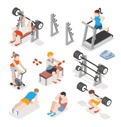 Isometric gym workout flat set men and vector