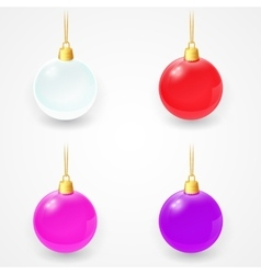 Set of christmas glass balls on a white background vector
