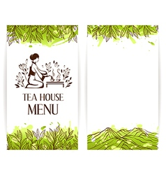 Green tea menu template vector